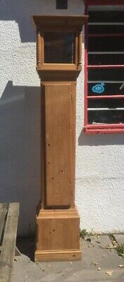 Pitched Pine Grandfather Clock  shelved Case