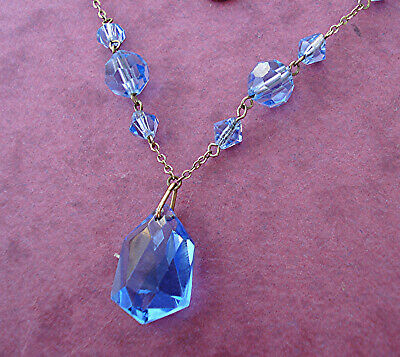 PRETTY ART DECO WIRED NECKLACE BLUE CRYSTAL DROP VINTAGE 1930s GLASS VGC