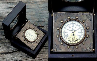 Vintage  Royal Watch antique Clock with Hardwood Wooden Box Collectibles