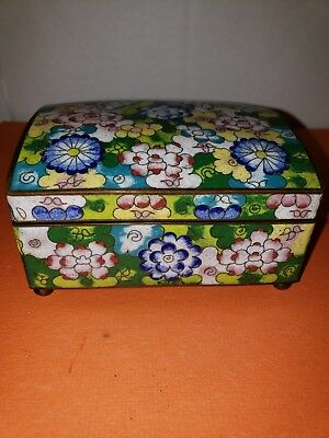 Vtg China Cloisonne Hinged Brass ball footed Trinket Cigarette Box