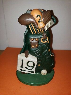 Cast Iron 19th Hole Golf Bag Ball 2 Club Door Stops or Book Ends