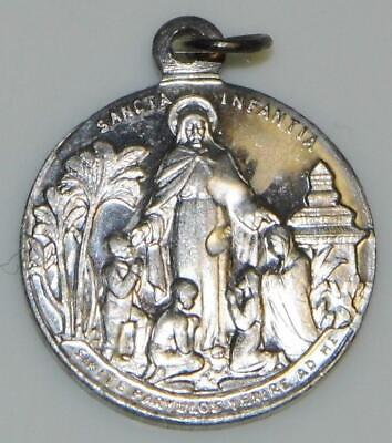 Jesus & Blessed Virgin Mary Holy Medal Latin Suffer Little Children Come Unto Me