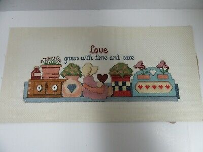 Finished Cross Stitch Country Shelf Doll Hearts Completed Love Grows Time Care
