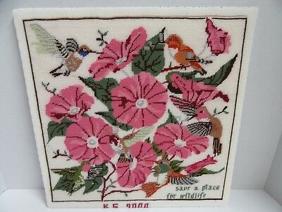 Finished Needlepoint Hummingbird Morning Glory Completed National Wildlife Fed