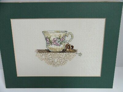 Finished Cross Stitch Victorian Teacup & Lace Shelf Completed 9x12