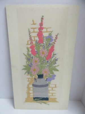 Paragon Finished Crewel Embroidery Milk Can Bouquet 0826 Completed 13x23 Vintage