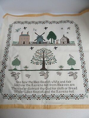 Finished Cross Stitch Folk Art Windmill Amish Lilies Ravens Fed Heaven Completed