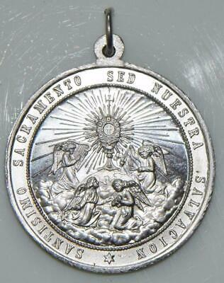 Large Our Lady of Guadalupe Holy Medal & Sacrament of Eucharist Latin & Spanish