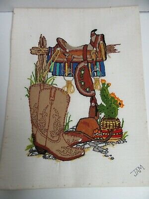 Finished Crewel Embroidery Western Cowboy Boots Saddle Completed 12x16 Wrangler