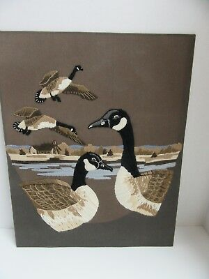 Finished Crewel Embroidery Canadian Goose Pair Geese in Flight Wetlands Farm