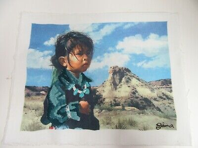 Finished Native American Indian Girl Child Completed Embroidery 13x16 Framed