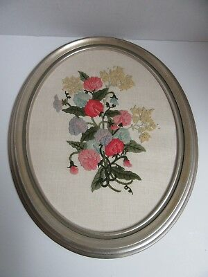 Finished Crewel Embroidery Floral Bouquet Oval Completed Framed Flowers 14x17