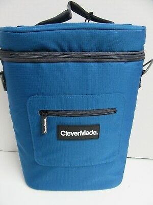 CleverMade Insulated Tote Wine Cooler Holds 3 wine Bottles Ice Pack Blue
