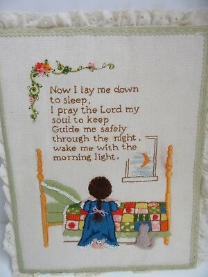Finished Crewel Embroidery Lay Me Down to Sleep Kid Room Completed 11x14