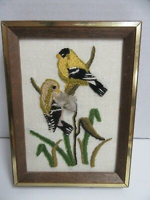 Finished Sunset Jiffy Crewel Embroidery Black Capped Chickadee Bird Completed