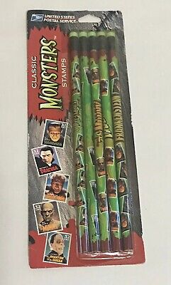 Vintage United States Postal Service Classic Monsters Stamps Pencils New in Pack
