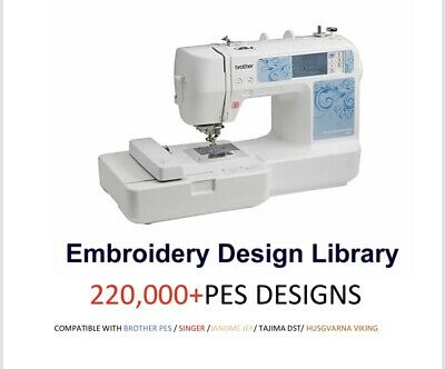 220,000+ Embroidery Brother PES Designs on a USB STICK + Tutorial Lessons Tajima