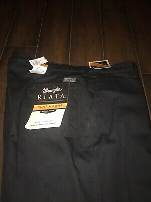 4c36675f Wrangler Riata Black Pants Flat Front Relaxed Fit Mens 40x26 NWT $36