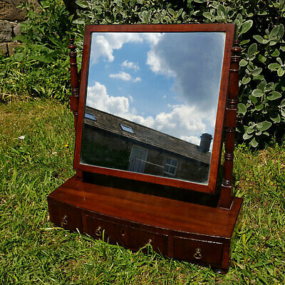 Regency Mahogany Inlaid Bow Front Dressing Toilet Mirror Early C19th