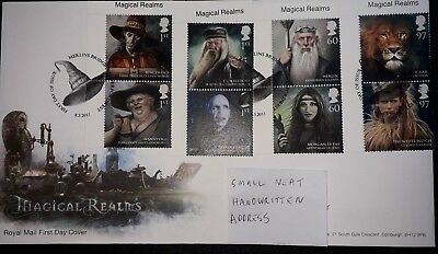 Gb Fdc 2011 Magical Realms 8 Stamps Cover Voldemort Witch Ogg Merlin Dumbledore