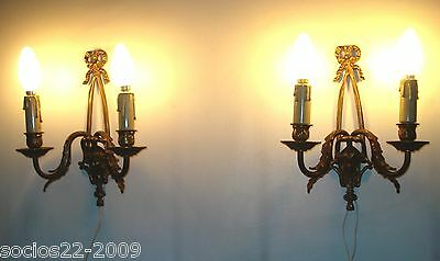 antique pair french bronze wall sconces