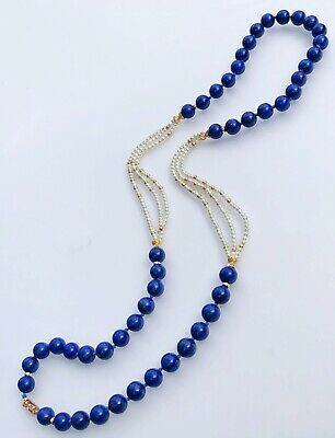 "14K Yellow Gold Lapis Lazuli Bead White Pearl Necklace 32"" X-Long Vintage Gift"