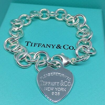 Sterling Silver Pulsera Charm FORMA CORAZÓN AG 925 Genuine Tiffany & Co. bag