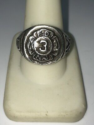 Vintage Sterling Silver New Jersey Fire Department.3 Ring Size 10.75 (14.4g)