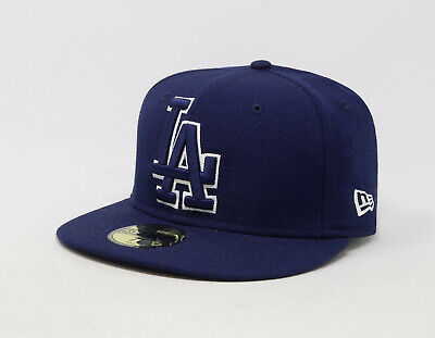 New Era 59Fifty Hat MLB Los Angeles Dodgers Mens Blue Dark Royal 5950 Fitted Cap