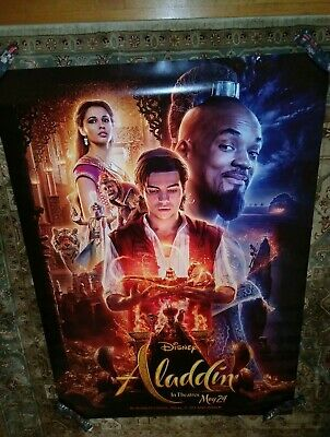 Disney Aladdin 2019 Original Double Sided Movie Theater Bus Shelter 4 ft x 6 ft