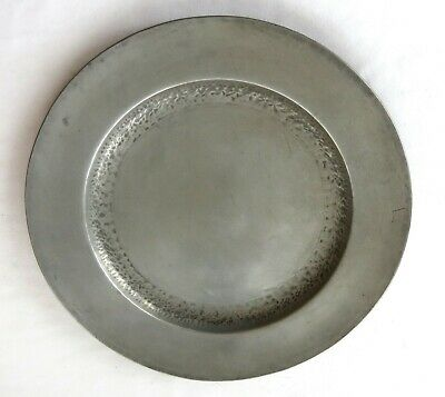 "Arts & Crafts Style Hammered Pewter 9.75"" Plate Marked Mountaineer Craftsman"