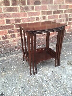 Antique Early 20th Century Mahogany Bow front Nest Of Tables