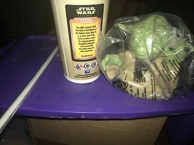STAR WARS Episode 1 Pizza Hut Cup w/ Yoda Topper Brand New Rare 1999 Taco KFC