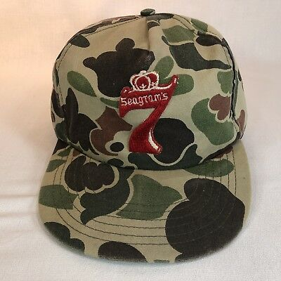 Vintage Seagrams 7 Crown Cap Whiskey Camo Embroidered Hat Snap Baseball Trucker