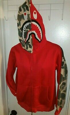 e8b7bc18 Bape Full Zip Shark Hoodie City Camo Full Sleeve Red WGM A Bathing Ape (S