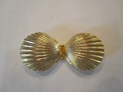 Vintage Mimi Di N Gold Cast Metal Scallop Shell Belt Buckle Signed Dated 1973