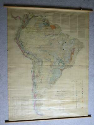 Large Wall 1950 Map of SOUTH AMERICA mounted on Linen by George Stowse-46.5 x 64