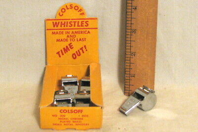 VTG COLSOFF WHISTLES - 5 NICKEL CHROME PLATED BRASS - NEW OLD STOCK in STORE BOX