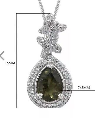 New W/ Tags Green Moldavite Fancy Pendant Guaranteed Authentic! W/ Chain! 1 CTTW