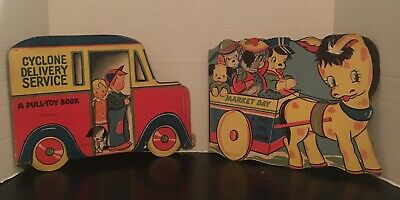 Vintage Pull-Toy Book Lot 1940's Market Day Cyclone Delivery Service Abbott Pub.
