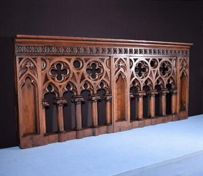 *Antique French Solid Oak Wood Neo Gothic Church Altar Railing Highly Carved