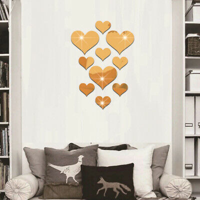 USA Gold/Silver Mirror Tile Wall Stickers Mosaic Room Makeup Decor 3d Adhesive