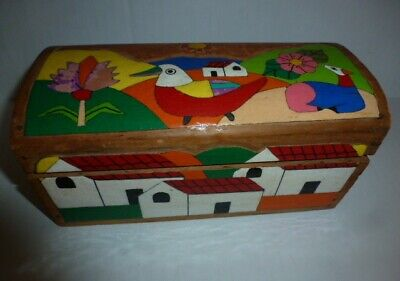 Vintage Wood Hinged Chest Box Folk Art El Salvador Hand Carved Enamel Paint