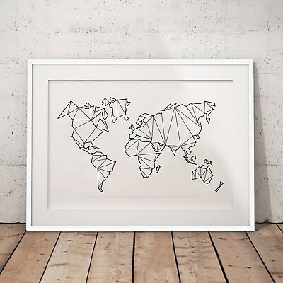 Abstract Geometric Low Poly Map Of World Poster Canvas Painting Home Decoration