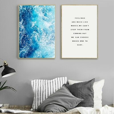 Ocean Blue Waves Wall Art Poster And Prints For Living Room Nordic Decoration
