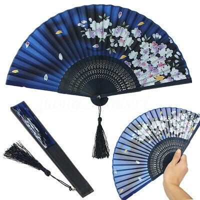 Japanese Silk Cherry Blossom Sakura Folding Hand Held Fan Wedding Dancing