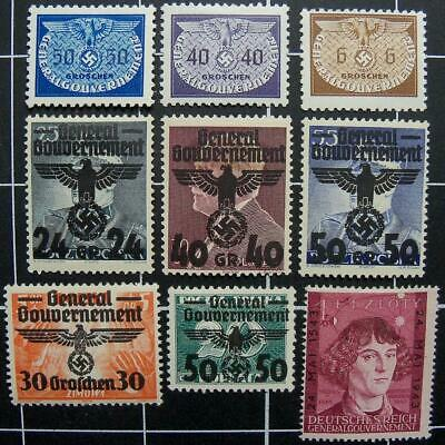German WW2 stamps,1938-1943,MH-nazi era-Germany/occupation/Poland/General Gouver