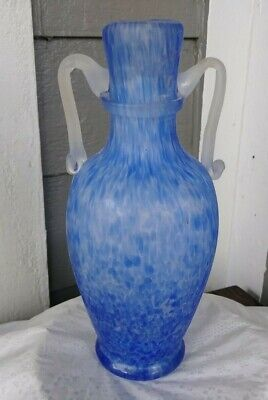 Vtg Murano Blue Spatter Scavo Art Glass Vase Seguso Vetri D'Arte Applied Handles