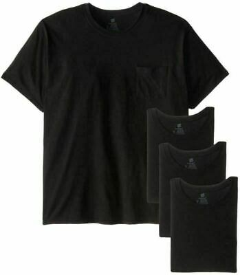 Hanes Men's Pocket T-Shirt Black 6 Pack Tee Size LG-XXL 2XL T NEW