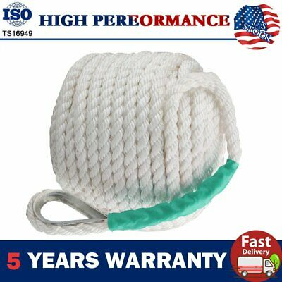 "Heavy Duty 1/2""x200' Twisted Four Strand Nylon Anchor Rope Boat with Thimble"